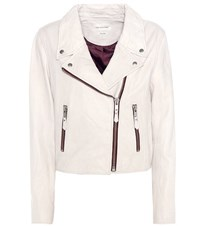 Etoile Isabel Marant Aken Leather Biker Jacket White