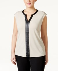 Calvin Klein Plus Size Faux Leather Trim Cap Sleeve Top