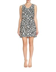 1.State Leopard Print Keyhole Back Dress