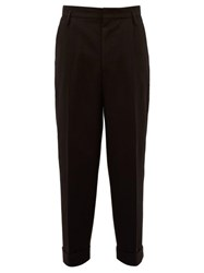 Raey Exaggerated Tapered Leg Wool Trousers Black