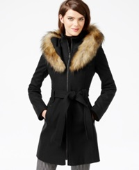 Rachel Rachel Roy Faux Fur Hood Belted Walker Coat Black