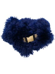 Mr And Mrs Italy Belted Fur Collar Blue