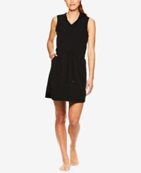 Gaiam Mia Woven Sleeveless Hoodie Dress Black