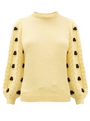 Shrimps Damon Cabled Puff Sleeve Merino Blend Sweater Yellow