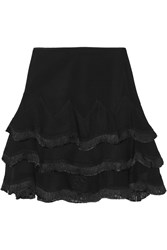 Sandro Jacotte Fringed Tulle Mini Skirt Black