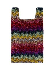 Ashish Rainbow Wave Sequin Embellished Cotton Tote Multi
