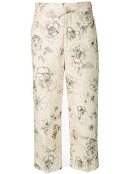 Erika Cavallini Floral Print Cropped Trousers Neutrals