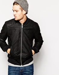 Solid Solid Leather Bomber Jacket Black