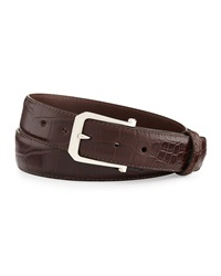 W.Kleinberg Matte Alligator Belt With 'The Paisley' Buckle Chocolate Made To Order