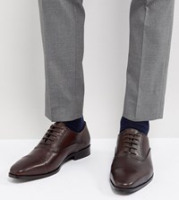 Dune Wide Fit Toe Cap Derby Shoes In Brown Leather