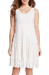 Women's Karen Kane 'Tara' Tiered Lace A Line Dress Cream