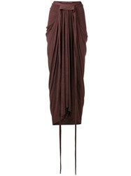 Rick Owens Lilies Ruched Detail Skirt Red