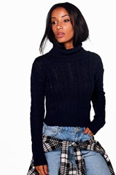 Boohoo Marl Cable Knit Chunky Crop Jumper Navy