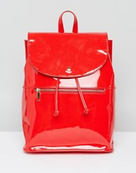 Asos Patent Soft Backpack With Zip Detail Red