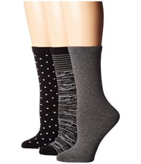 Steve Madden 3 Pack Pattern Crew Socks Grey Space Dye Women's Crew Cut Socks Shoes Gray