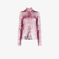 Msgm Sequin Embellished High Neck Top Pink And Purple