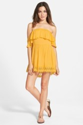 Lovers Friends 'Dream Vacay' Off The Shoulder Lace Trim Dress Yellow