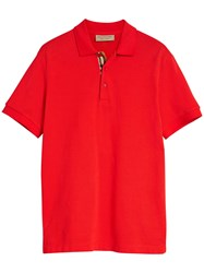 Burberry Check Trim Polo Shirt Red