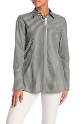 Lafayette 148 New York Jake Striped Poplin Blouse Bay Leaf Multi