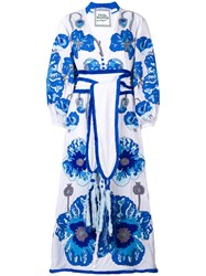Yuliya Magdych Belted Embroidered Dress White