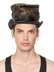 Move Vintage Effect Leather Top Hat