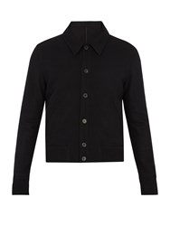 Ami Alexandre Mattiussi Point Collar Wool Blend Bomber Jacket Black