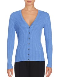 Lord And Taylor Petite Ribbed V Neck Cardigan Blue