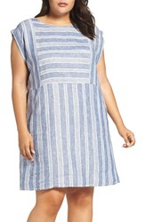 Caslonr Plus Size Women's Caslon Mix Stripe Linen Shift Dress