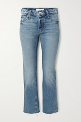 Mother The Scrapper Frayed Mid Rise Straight Leg Jeans Blue