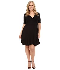 Christin Michaels Plus Size Cecilia Wrap Dress Black Women's Dress