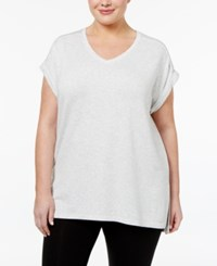 Calvin Klein Performance French Terry V Neck Back Pleat Tunic Optic Heather