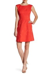 Anne Klein Jacquard Fit And Flare Dress Red