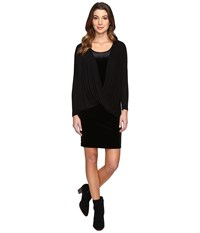 Mod O Doc Stretch Velvet Double Layer Twist Front Dress Black Women's Dress