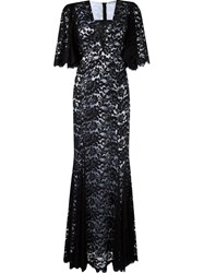 Martha Medeiros Lace Maxi Dress Silk Cotton Black