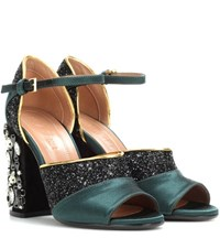 Marni Glitter And Satin Sandals Black