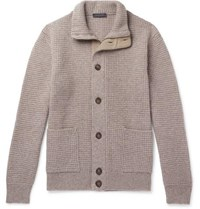Thom Sweeney Suede Trimmed Waffle Knit Cashmere Zip Up Cardigan Stone