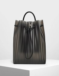 Charles And Keith Translucent Drawstring Backpack Black