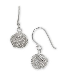 Lord And Taylor Sterling Silver Woven Ball Drop Earrings