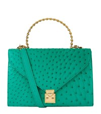 Lana Marks Frozen Chain Top Handle Ostrich Bag Female Green