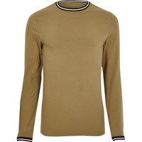River Island Mens Camel Brown Tipped Muscle Fit T Shirt