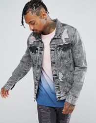 Brooklyn Supply Co. Co Ripped Denim Jacket Acid Wash Grey Blue