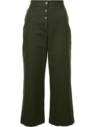 Proenza Schouler Cropped Flared Trousers Green