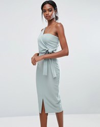 Lavish Alice One Shoulder Pencil Dress With Tie Detail Green