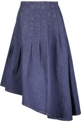 Suno Asymmetric Pleated Denim Skirt Mid Denim