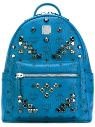 Mcm Logo Print Studded Backpack Women Calf Leather Metal One Size Blue