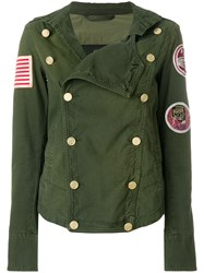 Mr And Mrs Italy Patched Double Breasted Fitted Jacket Green