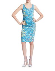 Tracy Reese Bodycon Sleeveless Floral Print Dress Lite Brite