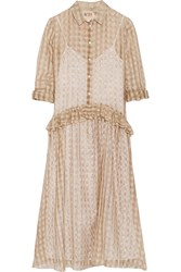 N 21 Gingham Cotton And Silk Blend Muslin Dress Nude