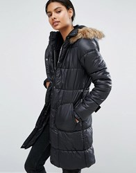 Vila Belted Faux Fur Trim Padded Coat Black