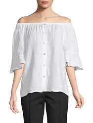 Saks Fifth Avenue Off The Shoulder Linen Top Black